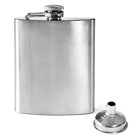 Dimono Flachmann aus Edelstahl mit Schraubverschluss und Einfülltrichter | 220ml Trinkflasche To Go Hip Flask Taschenflasche Getränkeflasche Trink Gadget