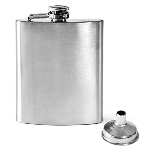 Dimono Flachmann aus Edelstahl mit Schraubverschluss und Einfülltrichter | 220ml Taschenflasche