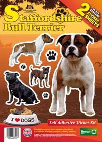Staffordshire Bull Terrier - Dog Stickers Twin pack, Self Adhesive