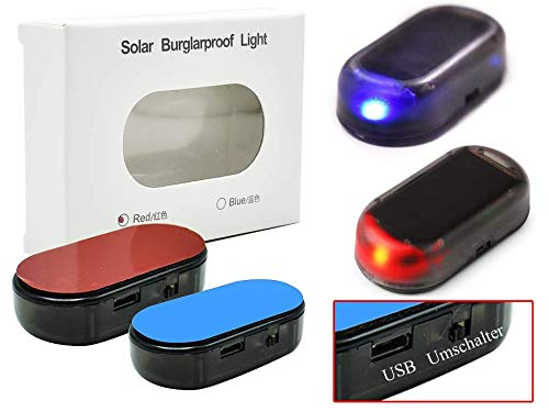 USB + SOLAR Auto Alarmanlage Dummy Imitation Diebstahlsicherung Attrappe (blau-LED)