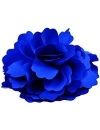 Broche Barrette à Fleur de Pivoine pour Filles Femmes (Bleu Royal)