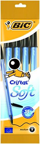 Bic Cristal Soft Punta Media 1,2 mm Confezione 4 Penne Colore Nero