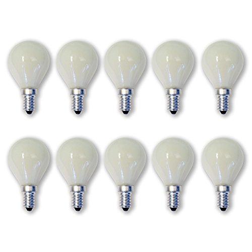 15w Kugel (10 x Glühlampe Glühbirne Opal weiß matt Tropfen Kugel E14 15W 15 Watt 230V)