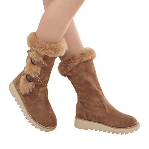 BHYDRY Schuhe Damen Winterstiefel Damen Slip-On gefüttert Wildleder runde Zehe Schnallenriemen Flache Schuhe Warm halten Mittleres Rohr Plateauschuhe(38 EU,Braun)