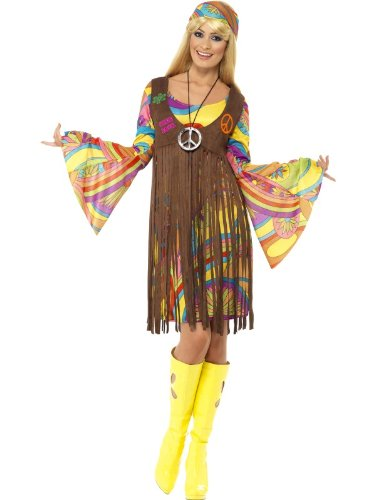 Buntes Hippie Outfit neon 70er Jahre Hippiekleid L 44/46 60er Jahre Kostüm Kleid mit Glockenärmeln Weste mit Fransen Stirnband 70s Look Blumenkind Peace and Love Karnevalskostüm - Hippie Weste Kostüm