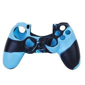 Unbekannt Ersatz Skin Camo Silikon Schutzhülle für PlayStation 4 PS4 Controller Schwarz Blau