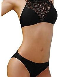 Bikini Damen Push up LHWY Frauen Sommer Strand BH Bikini Set Mesh Badeanzug Teen Mädchen Badebekleidungs Neckholder Mode Design