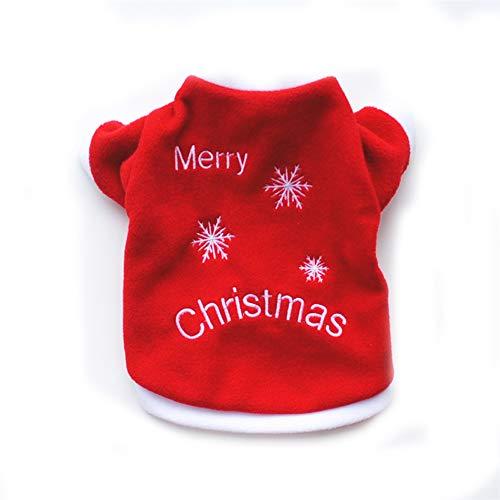 Bichon Kostüm - Dreamls Haustier-Kostüm für Hunde, Weihnachten, warm, rotes Schneeflocken-T-Shirt, Outfit für Welpen, kleine Hunde, Katzen