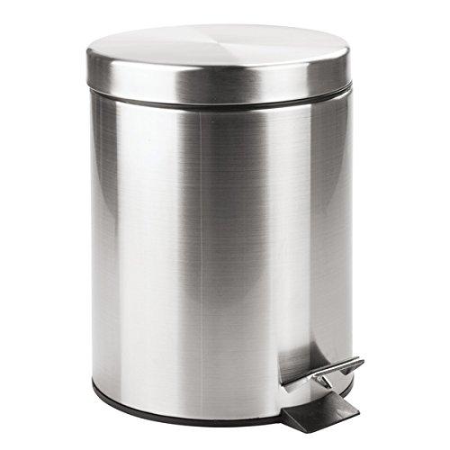 MDesign Cubo de basura con tapa y pedal - Moderna papelera de baño de acero resistente con recipiente...