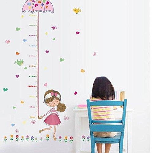 yunnuopromi Höhe Messlatte Wand Aufkleber Cartoon Vogel Blume Kids Room Decor, PVC, 29.53 x 57.09 inch - Paris-wand-aufkleber