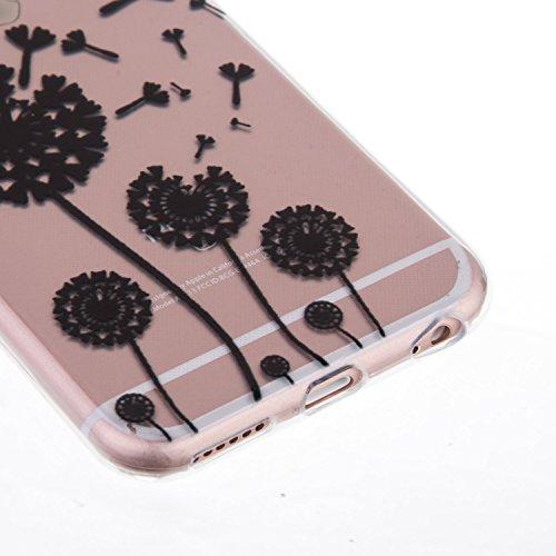 iPhone 6S Hülle,iPhone 6 Case - Felfy Ultra Slim Weicher Gel Flexible TPU Transparent Case Schutzhülle Silikon Ultradünne Hülle Retro Farbe Blumen-Totems Tupfen Gitter Muster Schutz Scratch-Resistant  Löwenzahn
