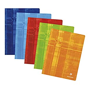Clairefontaine 3372C Staple Bound Notebooks, A4+, Squared, 90 g, 60 Sheets - Assorted Colours, Pack of 10