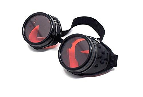 UltraByEasyPeasyStore Ultra Schwarz mit Roten Linsen Steampunk Brille Gläsern Cyber Viktorianischer Punk Schweißen Cosplay Goth Round Niet Vintage Rave Neuhei Schwarzen Gläsern