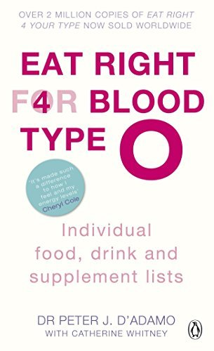 Eat Right for Blood Type O: Individual Food, Drink and Supplement Lists by Peter J D'adamo Dr. Peter J. D'Adamo (2011-08-01)