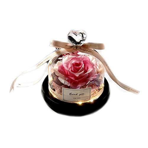 lailongp 9 Farben Kreative Konservierte Getrocknete Rose Blume Mit Glaskuppel Band Bowknot Glühende Liebe Herz LED Lichter, Valentinstag Hochzeitsgeschenk Band Night Light