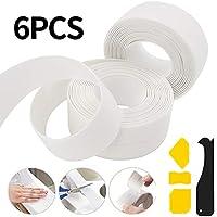 Sealant Lifreer 2 rollos de 6,4 m de sellador de baño y 4 raspadores de silicona, sellador de silicona impermeable cinta selladora de baño tira selladora de tina cinta selladora de ducha