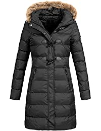 AZ-Fashion Damen langer Mantel Winterjacke Jacke Stepp Kunstfell Kapuze Az20