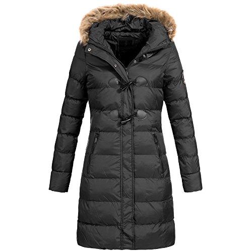 AZ-Fashion Damen Steppmantel Winter Mantel Parka Jacke warm S-XXL AZ29 4-Farben, Größe:L / 40;Farbe:Schwarz