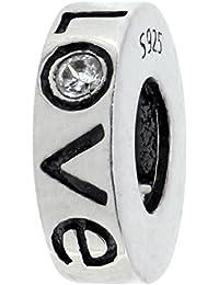 925 plata esterlina del encanto del amor distanciador para pulseras estilo Pandora verdaderamente encantador®