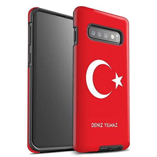 eSwish Personalisiert Individuell National Nation Flagge Glanz Zähen Hülle für Samsung Galaxy S10 Plus/Türkei/Türkisch Design/Initiale/Name/Text Stoßfest Schutzhülle/Case/Etui Flagge Cover