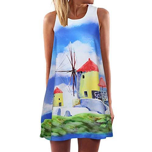 Yvelands Damen T-Shirt Kleid Mode Sommer Casual Tiefem Oansatz Ärmelloses Blumendruck Kleid (Weiß11,XXL)