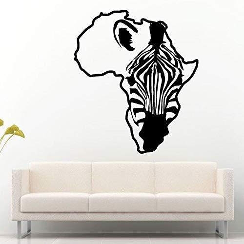 42X47 cm Afrika Karte Kontinent Umriss Zebra Pferd Wandaufkleber für Wohnzimmer Kinder Kindergarten Vinyl Tapete Home Murals Aufkleber