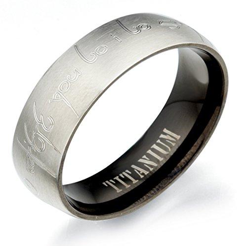 Gemini signore degli anelli Elfica personalizzato incisione sposo o sposa due Tone Nero Opaco e (Titanio 7 Mm Matt)