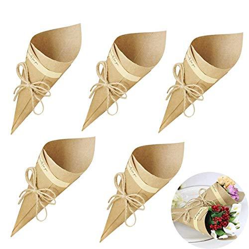Gudotra 50pz Cono Portariso Retro Kraft Carta Bouquet Caramella Cioccolato Borse Scatole Matrimonio Corda di Canapa