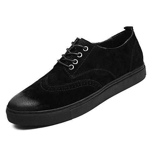 HILOTU Herren Daily Oxfords Deck Bootsschuhe Lässig Komfortabel Weiche Schnürschuhe Formelle Brogue SchuheSneaker (Color : Schwarz, Größe : 44 EU) -