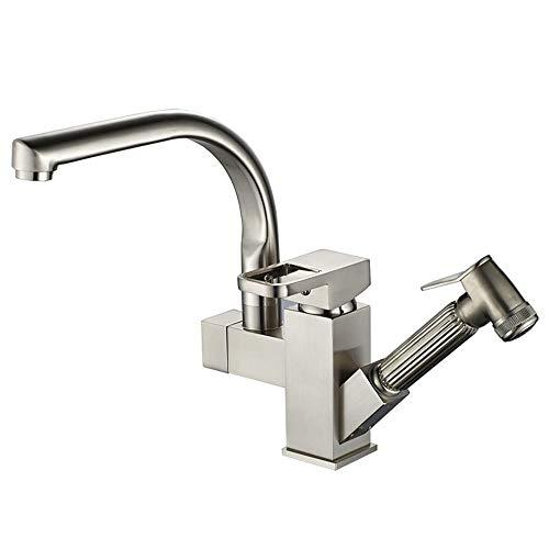 DRHYSFSA-Home Armaturen Edelstahl Pull Down Spüle Wasserhahn Kalt-und Warmwassermischer Waschtischarmatur Waschbecken Zubehör (Color : Silver, Size : Free Size) - Pull-down-spüle