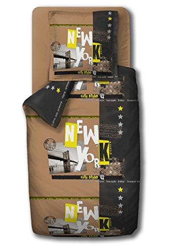 Douceur de Nächte HC2New York City Style Bettwäsche Bettbezug 140x 200cm + Kopfkissenbezug 63x 63cm, Baumwolle, Mehrfarbig (Bettbezug New York City)