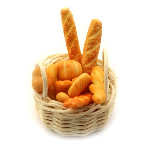 MyTinyWorld Miniature Basket of Handmade Breads Selection