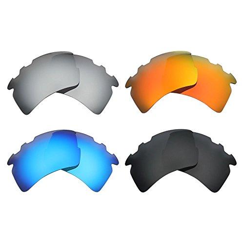 MRY 4Paar Polarisierte Ersatz-Gläser für Oakley Flak 2.0XL belüftet sunglasses-stealth schwarz/fire rot/ice blau/silber titan