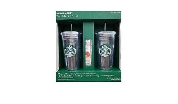 Halter & Spender Starbucks Berricle 567gram à double paroi en acrylique gobelets avec pailles Badausstattung