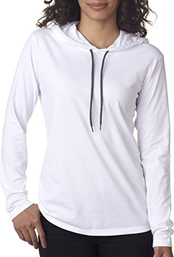 Anvil: Women`s Fashion Basic LS Hooded Tee 887L White/ Dark Grey