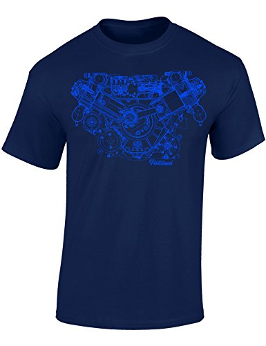 Baddery Petrolhead Industries: Motor Skizze - Auto Shirt - Geschenk für Autoliebhaber - T-Shirt für Alle Tuning-, Drift-, und Motorsport Fans -S, Nr.B0716