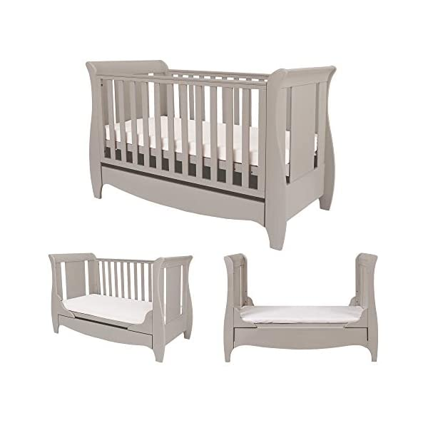 Tutti Bambini Roma Wooden Sleigh Cot Bed with Space Saver Under Bed Drawer - 120 x 60cm 3 Adjustable Positions (Truffle Grey) Tutti Bambini BIRTH TO 4 YEARS - Can be used as a Cot Bed from birth and then converted into a sofa or junior bed suitable up to 4 years ADJUSTABLE BASE - Three position adjustable mattress base, allowing easy access to little ones UNDER BED DRAWER - Classic sleigh design with under-bed drawer for extra storage, available in White or Espresso finish 1