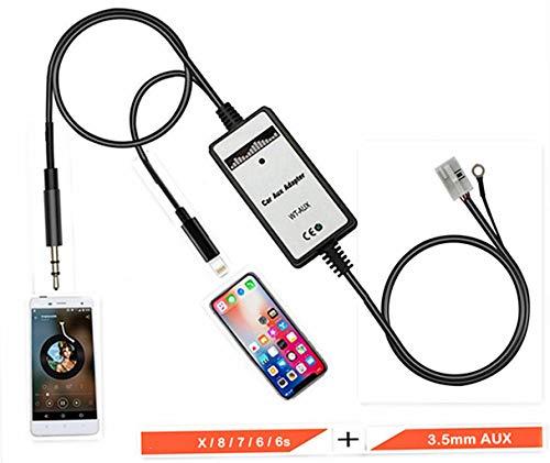 Shine AUX Lade- und MP3-Player Player-Adapter, Auto-Digital-Musik-CD-Wechsler, 3,5 mm, kompatibel für iPX/8/7, iPhone für Audi Volkswagen 12-Pin A3/A4/TT/R8, VW Bettle Golf/GTI/R32/Passat/Jetta/Polo