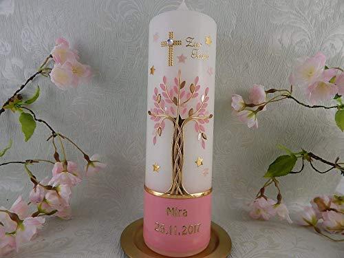 Taufkerze Lebensbaum Kreuz Sterne gold rosa pink Taufkerzen Mädchen 250/70 mm inkl. Beschriftung - 2
