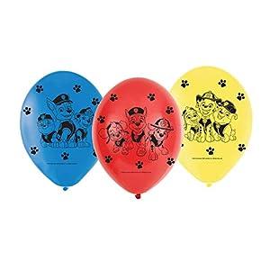 amscan 9903825 Paw Patrol - Globos de látex (6 Unidades), Color Rojo, Azul y Amarillo