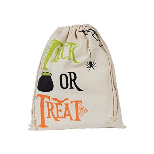 Transer® Drawstring Halloween Süßigkeiten Tasche Geschenk Tasche Lovely Spinne Kürbis Dekoration für Trick Or Treat Wiederverwendbare Einkaufstasche Größe: 34 x 42cm (Treat Trick Kostüme Kinder Für Or)