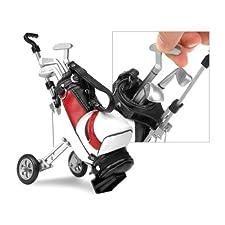 Miniature gadget golf caddy & bag desktop pen set – White