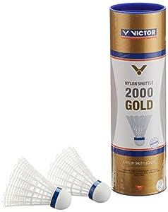 VICTOR Badminton Federball Nylon 2000 6er Dose, Weiß/Blau