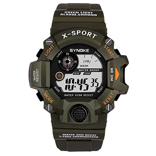 Pottoa Herren Damen Sportuhr   Fitness Analoge Armbanduhr   Multifunktion Armbanduhren Automatik MilitäR Sport-Uhr LED Digital Quarzuhr Der Männer Doppelbewegungsuhr