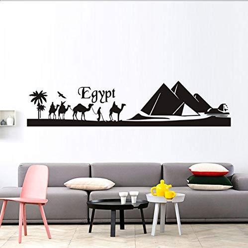 xmydeshoop Ägypten Pyramide Skyline Kamel Sand Wandaufkleber Abnehmbare Vinyl Wandkunst Landschaft Aufkleber Wandbild Dekoration 40X177 cm -