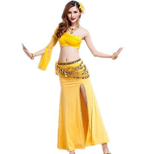 Byjia Bauch Tanzen Frauen Shirt Röcke Outfit Baumwolle Praxis Match Kleidung Kostüm Kleid Professionelle Performance-Sets Yellow 2