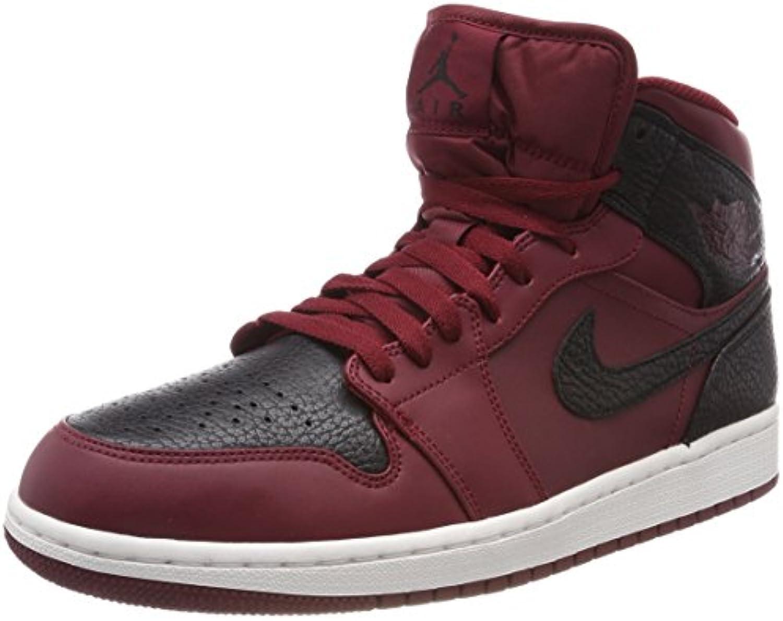 Nike Herren Air Jordan 1 Mid Basketballschuhe  Rot (Team Re D Schwarz SummitWeiss)  43 EU