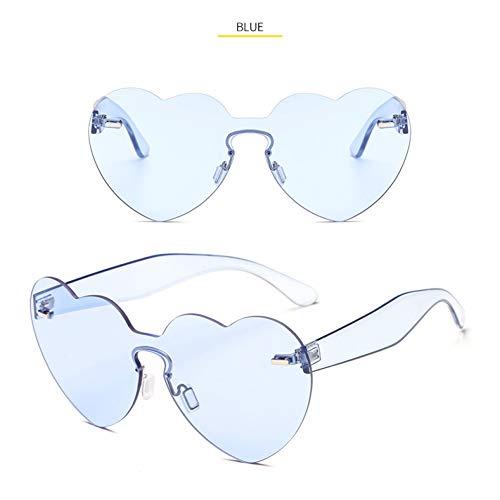 Taiyangcheng Las Mujeres del corazón de Gran tamaño gafas de sol de Moda de las señoras sin montura gafas de sol de Color Caramelo Amor gafas Regalo para niña,Azul