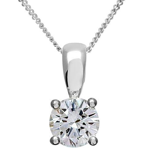 Naava Women's Platinum Solitaire Pendant + Chain, H/SI Certified Diamond, Round Brilliant, 0.75ct