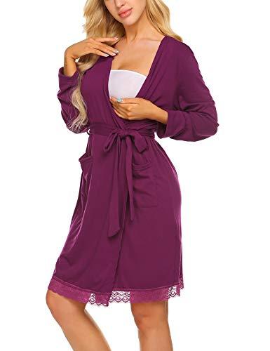 MAXMODA Damen Umstandspyjama Mutterschaft Pflege Schwangerschaft Stillen Kleid Nachtkleid Nachtwäsche Stillen Nachthemd (Pflege-langarm-nachthemd)